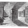 Catacombs or Ossuary,Paris, France vintage engraving — Stock Vector #6721322