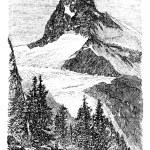 The Matterhorn or Monte cervino. Zermatt, Switzerland vintage en — Stock Vector