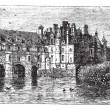 Stock Vector: Chenonceau Castle vintage engraving