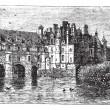 Chenonceau Castle vintage engraving — Stock Vector