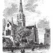 Stock Vector: Chichester Cathedral vintage engraving in 1890s