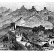 Great Wall of China, during the 1890s, vintage engraving — Stock Vector