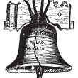 Liberty Bell, in Philadelphia, Pennsylvania, USA, vintage engrav - 图库矢量图片