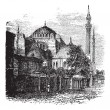 Hagia Sophia in Istanbul, Turkey, vintage engraving - Stock Vector
