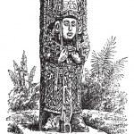 Copan Monolith in Honduras, vintage engraving — Stock Vector #6727776