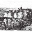 Cuenca in Spain, vintage engraving — Grafika wektorowa