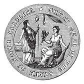 Great seal or hallmark of North Carolina vintage engraving — Stock Vector