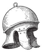 Roman legionnaire's helmet or galea vintage engraving — Stock Vector