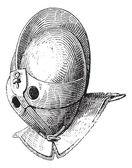 Gladiator helmet of galea vintage engraving — Stock Vector