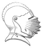 Fifteenth century helmet or galea vintage engraving — Stock Vector