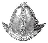 Cabaset peaked or helmet vintage engraving — Stock Vector