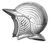 Pot head or helmet vintage engraving — Stock Vector