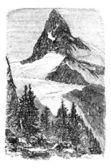 Matterhorn nebo monte cervino. zermatt, švýcarsko vinobraní en — Stock vektor
