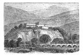 Chapultepec Park bosque in Mexico city, in late 1800s vintage en — Stock Vector