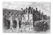 Chenonceau Castle vintage engraving — Stock Vector