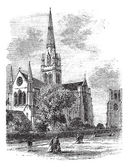 Chichester Cathedral vintage engraving in the 1890s — Stock Vector