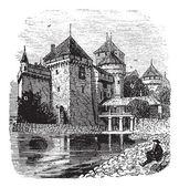 Chillon Castle or Chateau de Chillon in Veytaux, Switzerland, du — Vetor de Stock