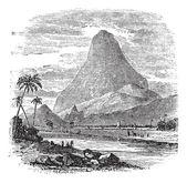 Comorin Peak in Kanyakumari, Tamil Nadu, India, vintage engravin — Stock Vector