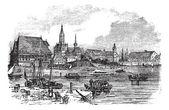 Konstanz in Baden-Wurttemberg, Germany, vintage engraving — Stock Vector