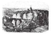 Cuenca in Spain, vintage engraving — Stock Vector