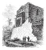 Coricancha o templo del sol, en cusco, perú, vintage engravi — Vector de stock