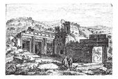 Ruins of Cyrene, in Shahhat, Libya, vintage engraving — Stock Vector
