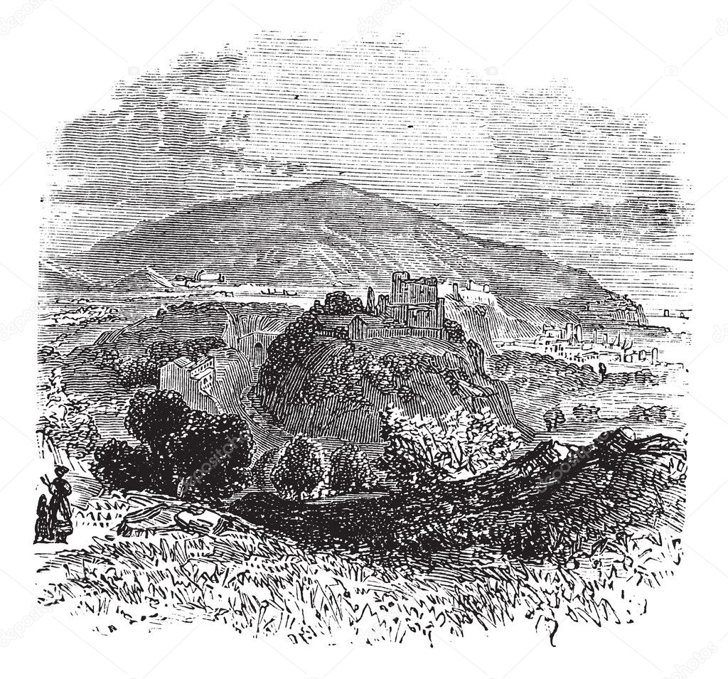 Countryside view of Castellammare di Stabia vintage engraving. Old engraved illustration of countryside view of Castellammare di Stabia. — Stock Vector #6721243