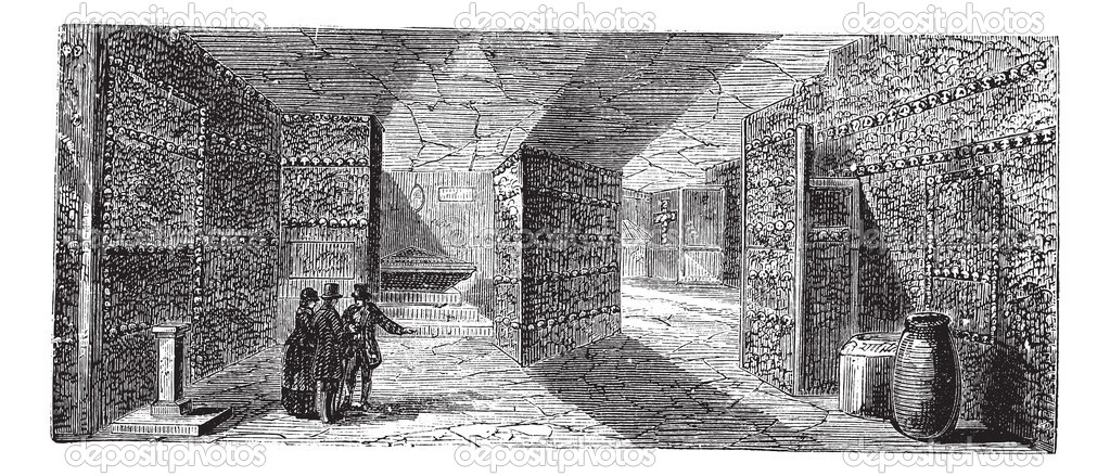 Catacombs or Ossuary or Sepulcher,Paris, France vintage engraving. Old engraved illustration of catacombs,1890s. — Stock Vector #6721322