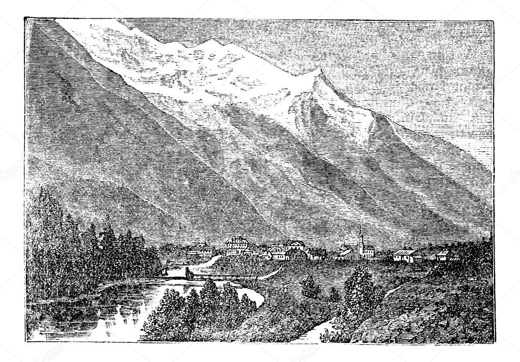 Mont Blanc, Monte Bianco, le Mont Blanc near Chamouny vintage engraving. Old engraved illustration of Mont Blanc (Monte Bianco) in Italy, also in France. — Stock Vector #6722391