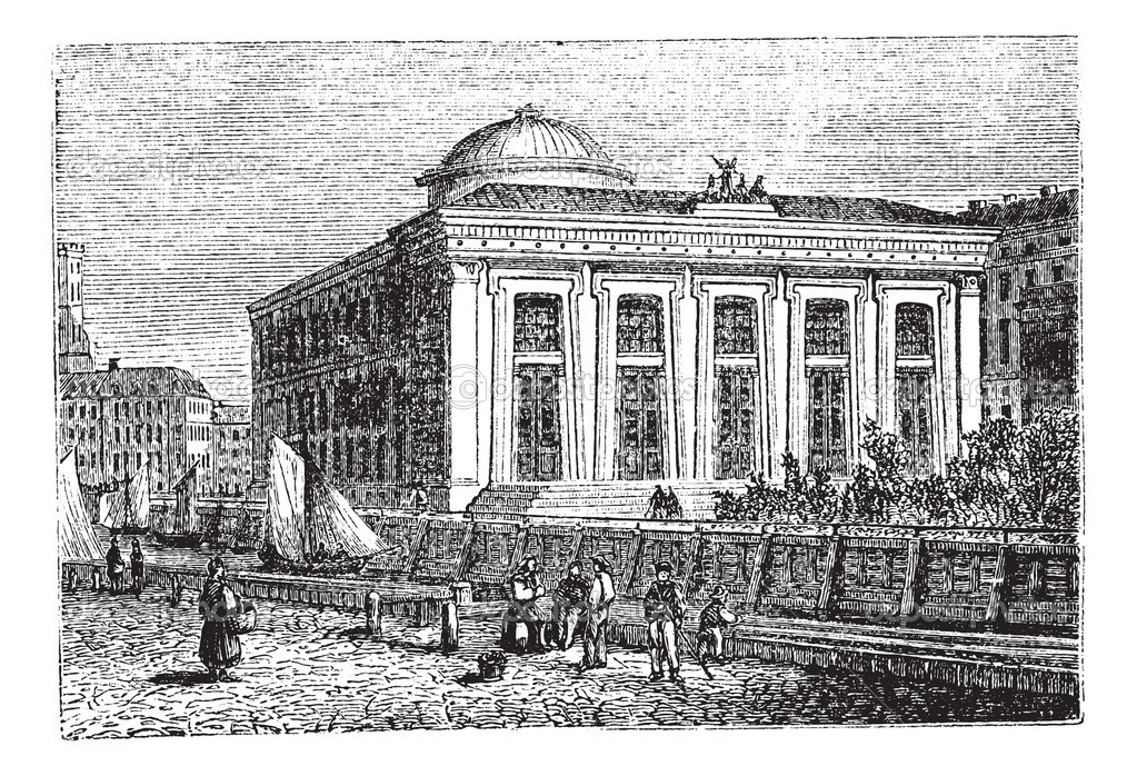 Thorvaldsen Museum in Copenhagen, Denmark, during the 1890s, vintage engraving. Old engraved illustration of the Thorvaldsen Museum. — Stock Vector #6727875
