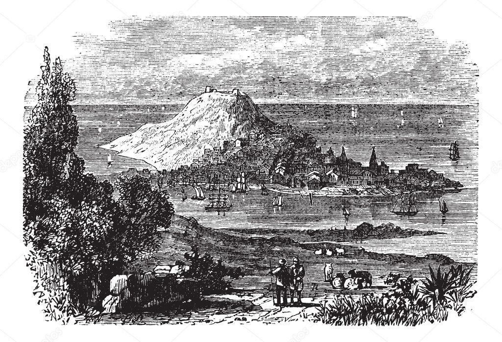 Corunna in Galicia, Spain, during the 1890s, vintage engraving. Old engraved illustration of Corunna.  Stock Vector #6728733