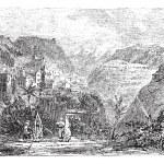 Deir el Qamar in Lebanon, vintage engraving — Stock Vector #6730171