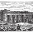 Temple of Hathor in Dendera, Egypt, vintage engraving - Stock Vector