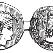 Stock Vector: Tetradrachm from Athens or Greek Silver Coin, vintage engraving