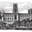 Durham Cathedral in England, United Kingdom, vintage engraving — Векторная иллюстрация