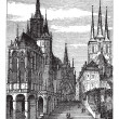 Erfurt Cathedral in Thuringia, Germany, vintage engraving — Stock Vector #6745857