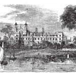 Eton College in Windsor, England, United Kingdom, vintage engrav — Stock Vector #6745959