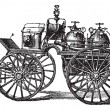 Horse-driven Fire Wagon, vintage engraved illustration — Stock Vector #6746063