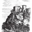 Falaise Castle in Normandy, France, vintage engraving — Stock Vector #6746091