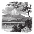 Постер, плакат: Mount Fuji in Japan vintage engraving
