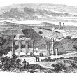 The ruins of Gerasa in Jordan vintage engraving - Grafika wektorowa