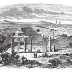 The ruins of Gerasa in Jordan vintage engraving — Stock Vector