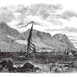 Gibraltar in Iberian Peninsula Europe vintage engraving — Векторная иллюстрация