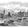 Albert bridge in Glasgow Scotland vintage engraving — Stock Vector #6747049