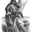 Young gypsy couple by tree vintage engraving — Stock Vector #6747380