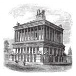 Mausoleum at Halicarnassus or Tomb of Mausolus vintage engraving — Stock Vector #6747408