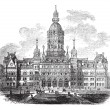 Hartford, Connecticut, New State House vintage engraving — Stock Vector #6747512