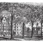 Harvard University, Cambridge, Massachussets vintage engraving — Stock Vector #6747520