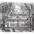 Stock Vector: Hawthorne House at Concord, Massachusetts vintage engraving