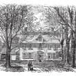 Hawthorne House at Concord, Massachusetts vintage engraving — Stock Vector